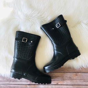 Michael Kors Tall Rain Boots Crocodile Sz 7